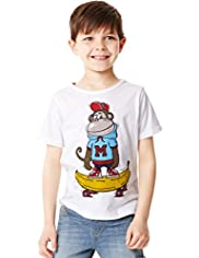 Pure Cotton Monkey Print T-Shirt