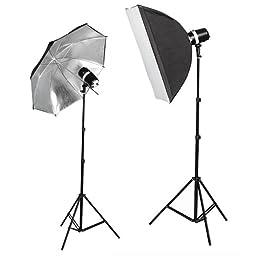 CowboyStudio 220 Watt Photo Studio Monolight Strobe/Flash Softbox Umbrella Lighting Kit - 2 Studio Flash/Strobe, 1 Softbox, 1 Reflective Umbrella