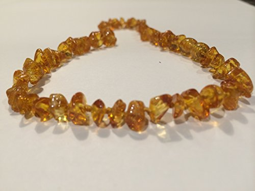 Baltic Amber Teething 12.5 inch Necklace for Babies (Unisex) (Honey) - Anti Flammatory, Drooling & Teething Pain Reduce Properties - Certificated Natural Oval Baltic Jewelry with the Highest Quality Guaranteed. Easy to Fastens with a Twist-in Screw Clasp Mothers Approved Remedies! Helps some with stress, anxiety, colic, eczema, acid reflux, GERD, gut issues, and heartburn.