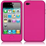 IPHONE 4 / IPHONE 4G SOFT SILICON SKIN CASE - HOT PINKby QUBITS