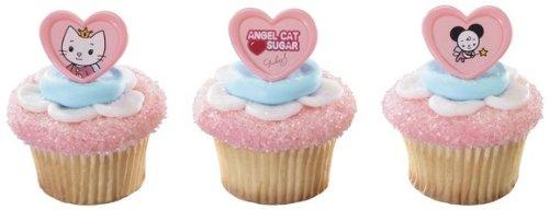 12 Angel Cat Sugar & Pals Cupcake Cake Rings Party Favors - 1