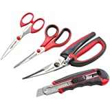 TEKTON 8054 Scissors and Snap-Off Knife Set, 4-Piece