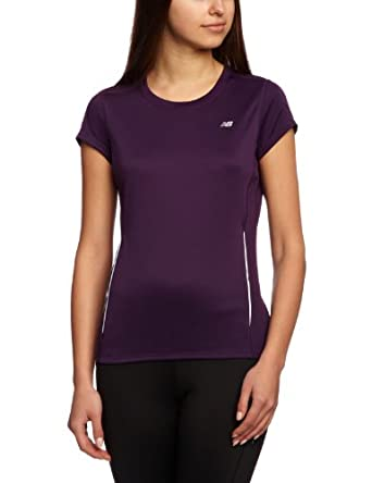 New Balance Women's Tempo Short Sleeve Tee, Blackberry Cordial, Small