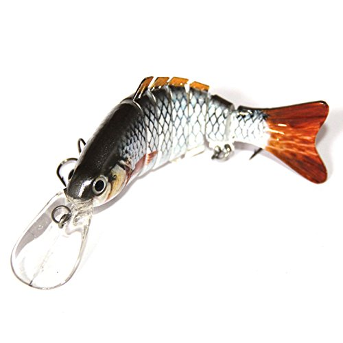 Discover Fish® 3.8″ New Tilapia Multi Jointed 6 Jointed Fishing Life-like Hard Lure Bass Bait Swimbait Crank Shad Herring Bass Pike Muskie (B)