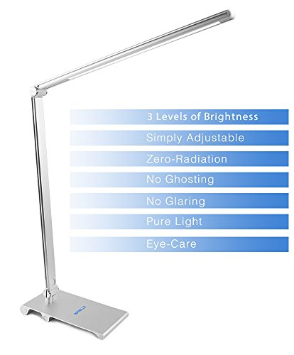 Desk Lamp, Infinilla LED Table Light Metal Body Touch Control Dimmable Lighting for Home Bedroom Office and Study 5W Adjustable Arm