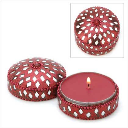 Cranberry Scented Jeweled Round Tin Keepsake Candle