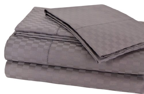 Elite Home Andiamo Check Collection Single Ply 500-Thread Count 100-Percent Egyptian Cotton 4-Piece Sheet Set