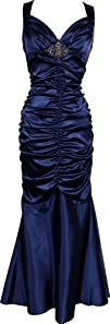 Ruched Mermaid Satin Prom Dress Bridesmaid Gown Beaded Accent