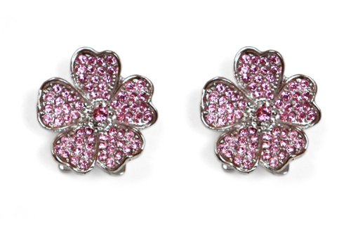 Sassy Clips Flower Petals, Silver with Light Rose Crystal Rhinestones