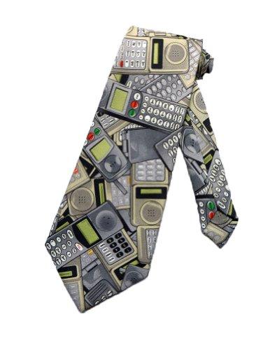 Tie Mania Männer Funk Handy Telefon Krawatte - grau - Einheitsgröße