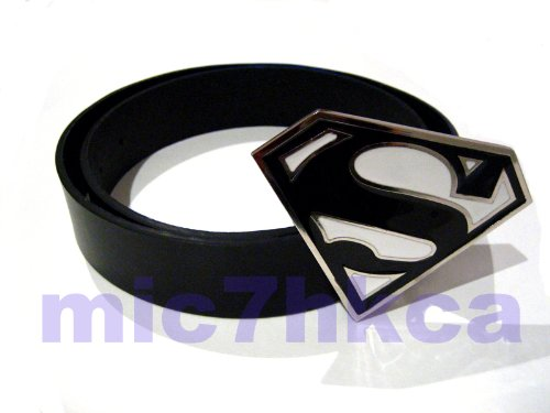 Fancy dress SUPERMAN big buckle black leather belt (BLACK & WHITE) (Adult size)