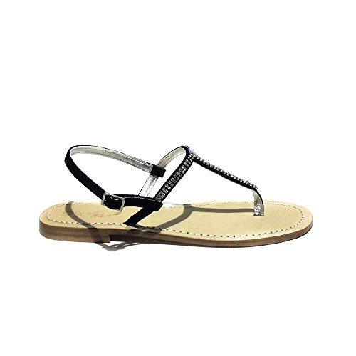 DG Positano sandalo gioiello donna nuovo pelle Nero made in italy art.4617 40