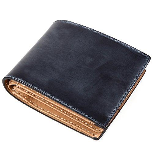 (ラファエロ) Raffaello 一流の革職人が作る 英国王室御用達レザーである最高級ブライドルレザーで製作したメンズ二つ折財布 革財布 本革 メンズ財布 (ネイビー)