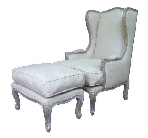 A Beautiful carved French Style Shabby Chic Wing Chair / French Armchair with matching foot stool / ottoman in Ash finish. Upholstery in natural linen with extra cushion.