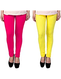 Snoogg Womens Ethnic Chic Inspired Churidar Leggings In Yellow And Pink