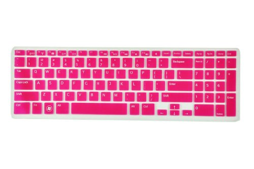 Silicone Laptop Keyboard Cover Skin Protector For Dell Inspiron New 15R N5110 M5110 M511R Us Layout (Rose Red Semitransparent)