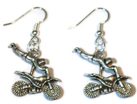 Motocross Tibetan Silver Dangle Earrings Motorcycle Racing