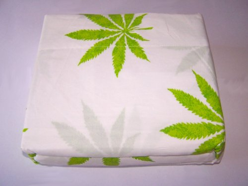 Marijuana Leaf Weed Pot Cannibis Leaf on White Background Sheet Set King Size