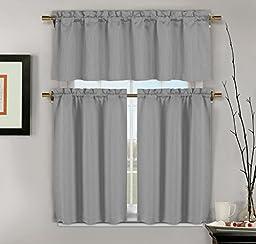 3-Piece Jacquard Kitchen Window Curtains: 1 Valance, 2 Tiers (Gray)