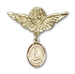 14K Gold Baby Badge with St. Frances Cabrini Charm and Angel with Wings Badge Pin