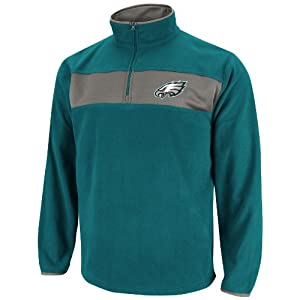 NFL Mens Philadelphia Eagles Fade Route III Long Sleeve 1/4 Zip Micro Chiller (Marine Green/Storm Gray, Small)