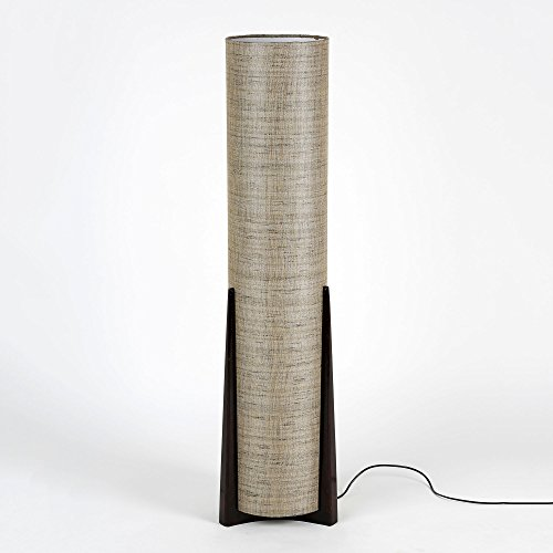 Handwoven Fabric Textured Dark Grey Shade Designer Wood Base Cylindrical Handmade Floor Lamp