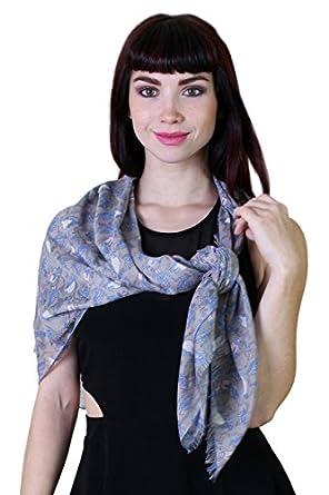 Women's Gabby Blue Birds Square Fashion Scarf (Blue Trim)