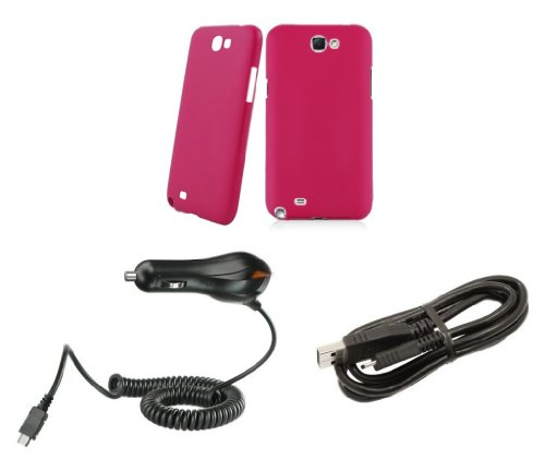 Samsung Galaxy Note Ii - Accessory Kit - Magenta Pink Slim Fit Back Cover Case + Atom Led Keychain Light + Micro Usb Cable + Car Charger