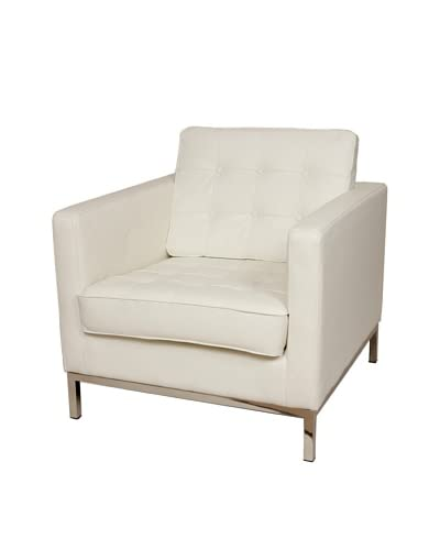 Control Brand The Draper Leather Armchair, White As You See