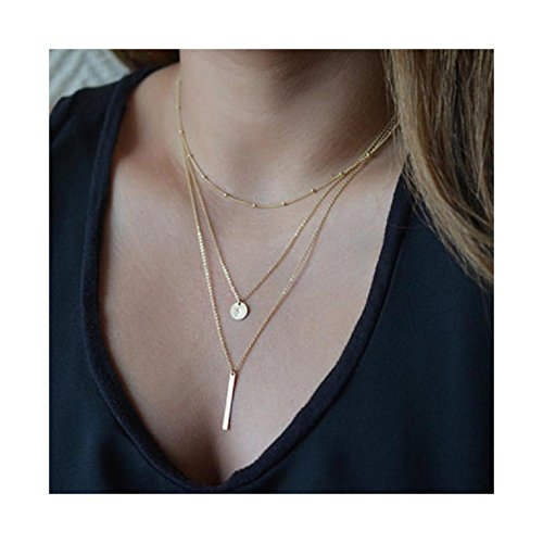 Ularmo 2015 New Hot Fashion Women Bang Bang Multilayer Pendant Chain Statement Necklace (gold)