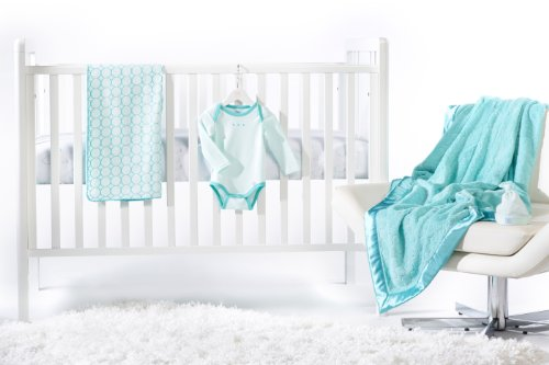 SwaddleDesigns 5 Piece Newborn Crib Bedding Set with Cozy Blanket for Parents, Turquoise, 0-3 months