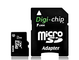 Digi-Chip 64GB CLASS 10 Micro-SD Memory Card for Samsung Galaxy A8, Galaxy V Plus, Galaxy Core Prime, Galaxy A3 and Xcove 3 Cell Phones