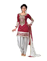 Ethnic For You Maroon & White Cotton Embroidery Work Dress Material-ETH5888