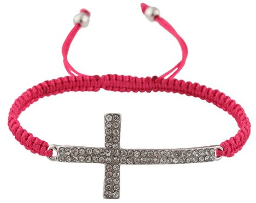 Fuchsia Lace Style Iced Out Cross Bracelet  Beaded