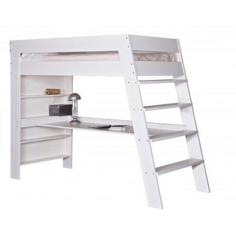 Alfred & Compagnie - Lit mezzanine avec bureau Eloïse blanc