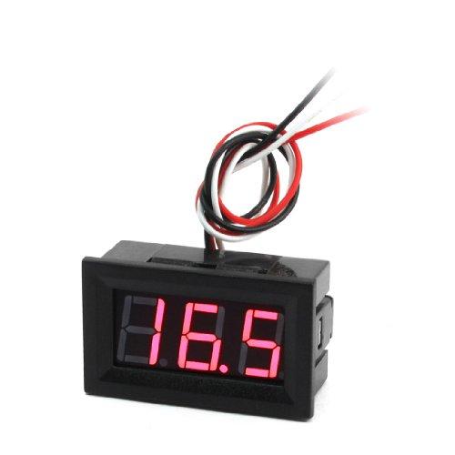 Dc 0-100V 3-Wire Red Led 3-Digit Panel Volt Voltmeter Module Black