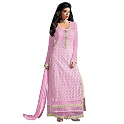 Bhelpuri Women Pink Net Georgette Dress Material