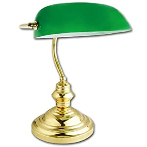 Retro Classic Bankers Lamp Table Desk Light Polished Brass Green Shade Tilt Head