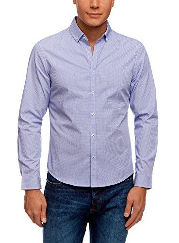 oodji Ultra Uomo Camicia Aderente con Stampa Geometrica, Blu, 41cm / IT 48 / EU 50 / M