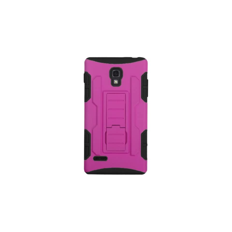 MYBAT ALGP769HPCSAAS904NP Advanced Armor Rugged Durable Hybrid Case with Kickstand for LG Optimus L9 P769   1 Pack   Retail Packaging   Hot Pink/Black
