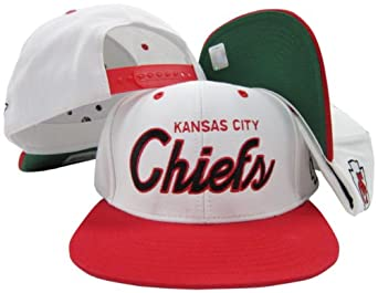Kansas City Chiefs White Red Script Two Tone Adjustable Snapback Hat Cap by Reebok
