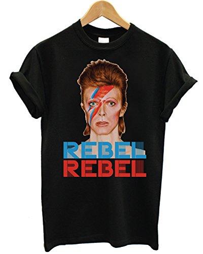 T-shirt Uomo David Bowie - Rebel Rebel texture logo Maglietta 100% cotone LaMAGLIERIA,M, Nero