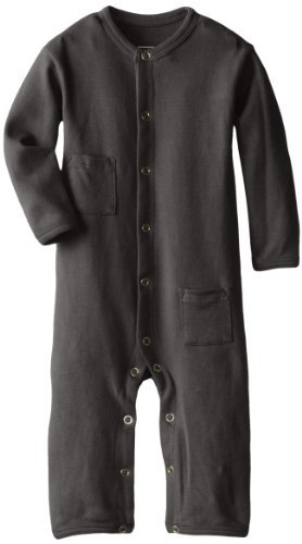 L'Ovedbaby Unisex-Baby Newborn Organic Long-Sleeve Overall, Gray, 6/9 Months front-968034