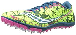 Saucony Women\'s Shay XC4 Spike Cross Country Spike Shoe,Citron/Navy/Pink,7.5 M US