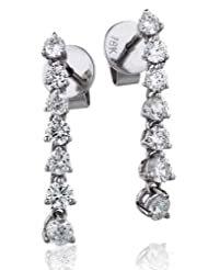 0.75CT Certified G/VS2 Round Brillialnt Cut Claw Set Diamond Drop Earrings in 18K White Gold