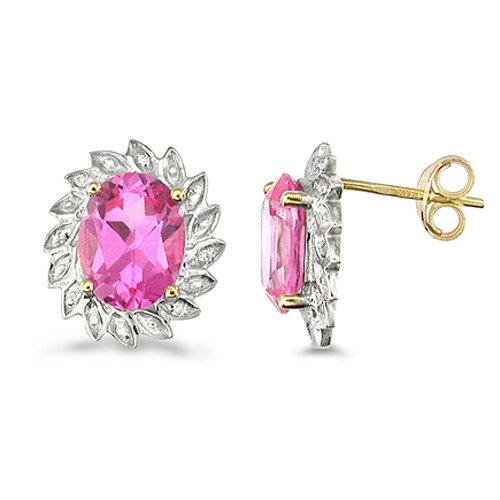 9ct Yellow Gold Oval Created Pink Sapphire and Diamond Cluster Earrings Set w...