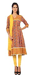 Rama Suit Set of Zig Zag Printd Emblished Yoke V Neck 3/4 Sleeve Cotton Fabric Women Anarkali Kurti with Yellow Legging Duppatta