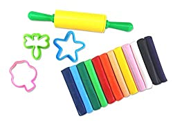 jingjing Clay Modeling Set - 12 Pcs of Colorful Non-Hardening Clay Dough with 3 Molds and 1 Rolling Pin
