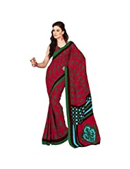 Inddus Exclusive Women Modish Pink Cotton Printed Saree - B00O63ZAL6