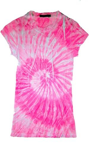 Sublimation PINK SWIRL Tie Dye Fitted Juniors Girly Retro Groovy Vintage T-Shirt